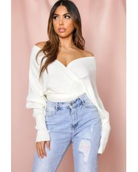 MissPap Off The Shoulder Knitted Rib Jumper - White