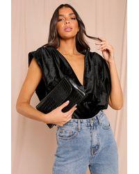 MissPap Croc Leather Look Shoulder Bag - Black