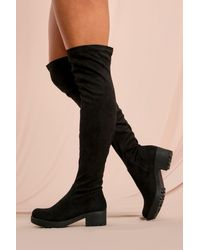 MissPap Faux Suede Over The Knee Boot - Black