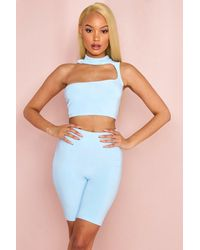 MissPap Double Layered High Neck Cut Out Crop Top - Blue