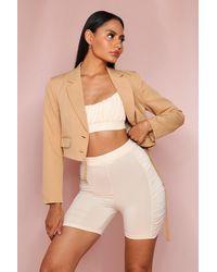 MissPap Button Front Cropped Blazer - Natural