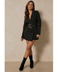 MissPap Asymmetric Gold Buckle Belted Blazer Dress - Black