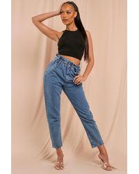 MissPap Paperbag Elasticated Mom Jeans - Blue