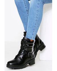 MissPap Side Buckle Chunky Biker - Black