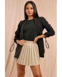 MissPap Ruched Sleeve Longline Blazer - Black