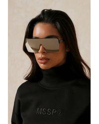 MissPap Oversized Single Lens Sunglasses - Metallic