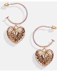 MissPap Heart Drop Hoop Earrings - Metallic