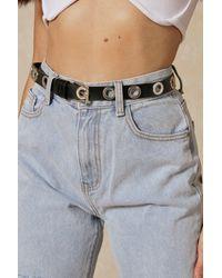 MissPap Eyelet Detail Leather Look Belt - Black