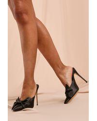 MissPap Satin Bow Detail Heeled Mules - Black
