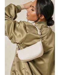 MissPap Leather Look Quilted Shoulder Bag - Natural