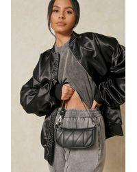 MissPap Leather Look Quilted Shoulder Bag - Black