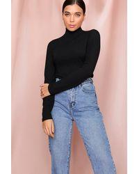 MissPap Rib Knit Roll/polo Neck Top - Black