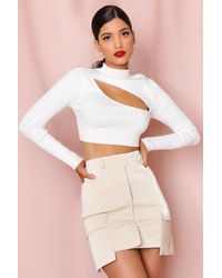 MissPap Utility Pocket Leather Look Mini Skirt - White