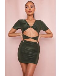 MissPap Double Layer Twist Front Mini Dress - Green