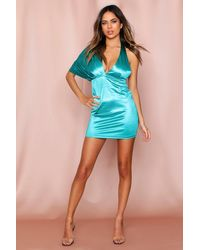 MissPap Satin One Shoulder Drape Mini Dress - Green