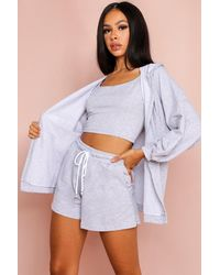 MissPap 3 Piece Hoody And Shorts Lounge Set - Grey