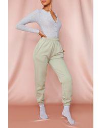 MissPap Rib Button Front Thong Bodysuit - Grey