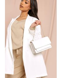 MissPap Croc Structured Cross Body And Chain Bag - White