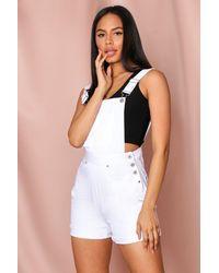 MissPap Denim Dungaree Short - White