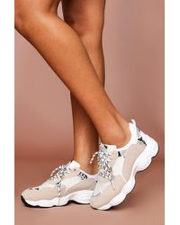 MissPap Chunky Snake Print Contrast Panelled Trainer - Multicolour