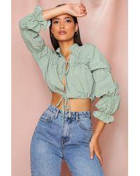 MissPap Polka Dot Ruched Tie Front Blouse - Multicolour