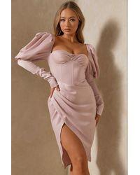 MissPap Premium Satin Puff Sleeve Drape Midi Dress - Pink