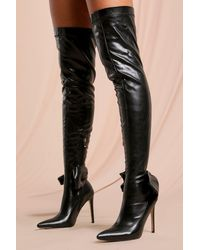 MissPap Leather Look Bow Detail Thigh High Boots - Black
