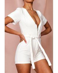 MissPap Zip Front Ecru Denim Playsuit - White