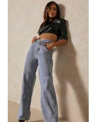 MissPap Wide Leg Asymmetric Waistband Jean - Blue