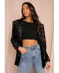 MissPap Crushed Velvet Relaxed Fit Blazer - Black