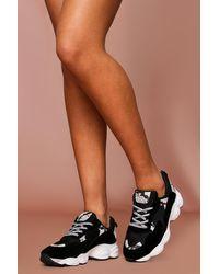 MissPap Chunky Snake Print Contrast Panelled Trainer - Black