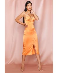 MissPap Satin Cupped Split Leg Midi Dress - Orange