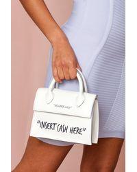 MissPap Insert Cash Here Slogan Cross Body Bag - White