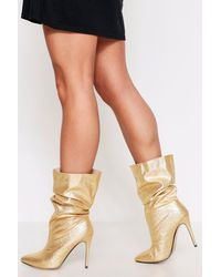 MissPap Ruched Pointed Calf Boot - Metallic