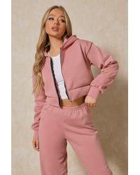 MissPap Basic Oversized Crop Zip Through Hoodie - Pink