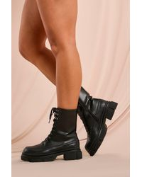 MissPap Leather Look Textured Chunky Ankle Boots - Black