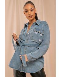 MissPap Denim Belted Stud Detail Jacket - Blue