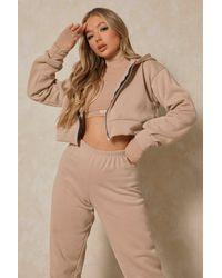 MissPap Basic Oversized Crop Zip Through Hoodie - Natural