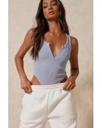 MissPap Ribbed Zip Front Thong Bodysuit - Blue