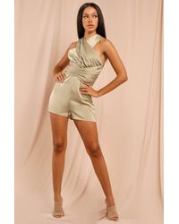 MissPap Satin Cross Front Playsuit - Green