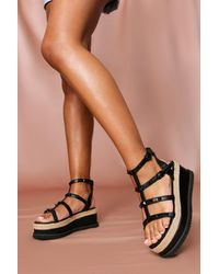 MissPap Tonal Stud Detail Flatform - Black