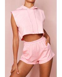 MissPap Padded Hooded T Shirt & Short Set - Pink
