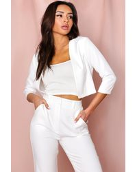 MissPap Cropped Fitted Blazer - White