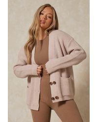MissPap Knitted Oversized Double Button Cardigan - Natural