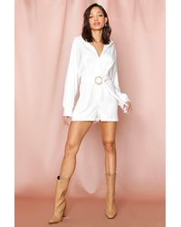 MissPap D-ring Belted Playsuit - White