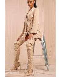 MissPap Cut Out Detail Thigh High Heeled Boot - Natural