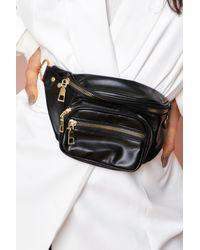MissPap Leather Look Bumbag With Nylon Strap - Black
