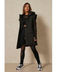 MissPap Sleeveless Padded Hooded Gilet Jacket - Black