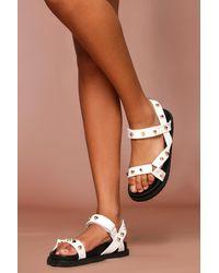 MissPap Chunky Studded Gladiator Sandals - White