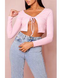 MissPap Rib Tie Front Cardigan - Pink